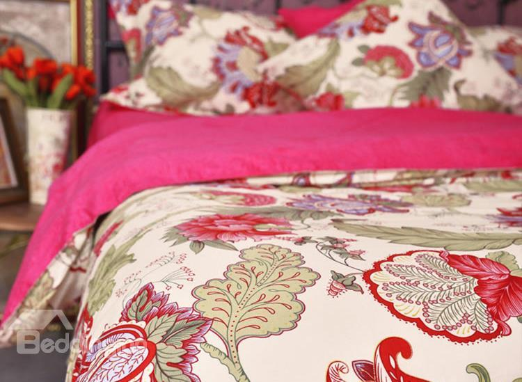 Secret Garden Bright Red Flower Print 4-Piece Cotton Duvet Cover Sets