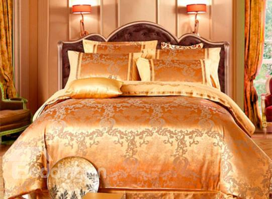 Golden Satin Jacquard 100%Cotton 4-Piece Duvet Cover Sets