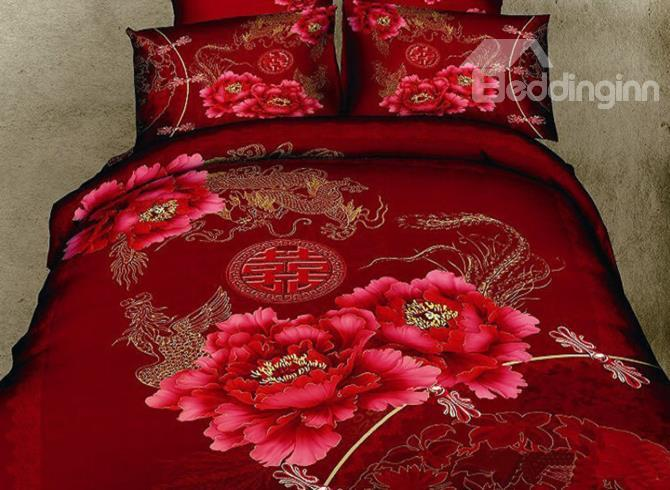 New Arrival High Quality Dragon And Happy Flower Realistic 3d Printed 4 Piece Bedding Sets