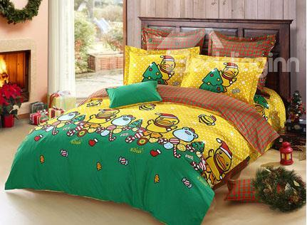 New Arrival 100%Cotton Yellow Duck Cartoon Merry Christmas 4 Piece Bedding Set