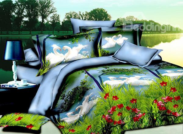 White Swan Couples Playing In The Water Print 4-Piece Polyester Duvet Cover Sets