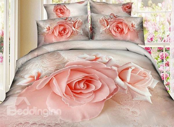 Wonderful Pink Rose Print 4-Piece Cotton 3d Duvet Cover Sets