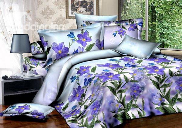 Dreamlike Romantic Purple Flowers 100%Cotton Hot Sell 4 Pieces Bedding Sets