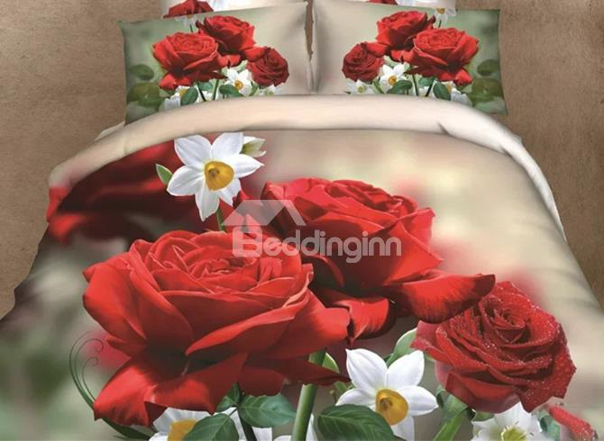 Very Beautiful Pink And White Flowers Print 4-Piece 3d Duvet Cover Sets