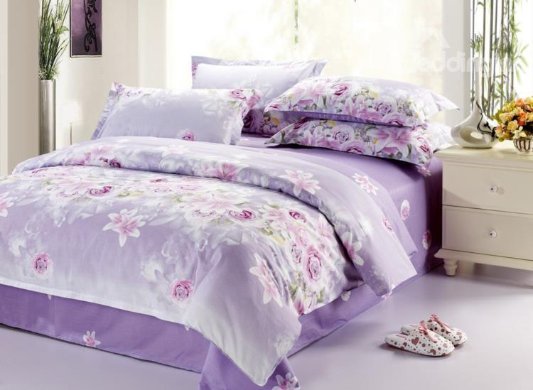 Sweet Rose And Lily Blossom 4 Piece Purple Bedding Sets