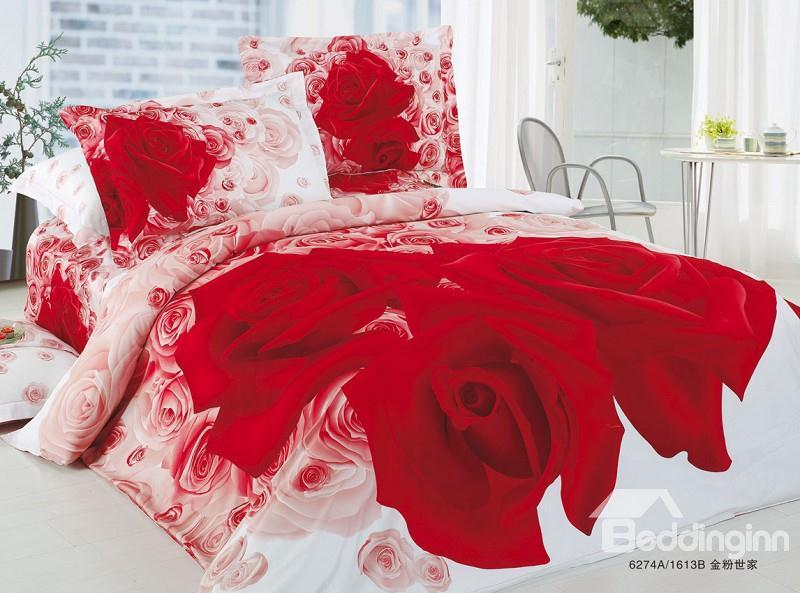 Luxury Red Rose Flower Wedding Duvet Cover Bedding Sets 10529165)