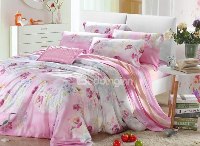 High Quality Elegant Pink Floral 4 Pieces Tencel Bedding Sets