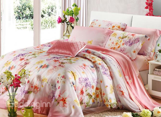 High Quality Comfortable Bright Floral Patterns 4 Pieces Tencel Bedding Sets