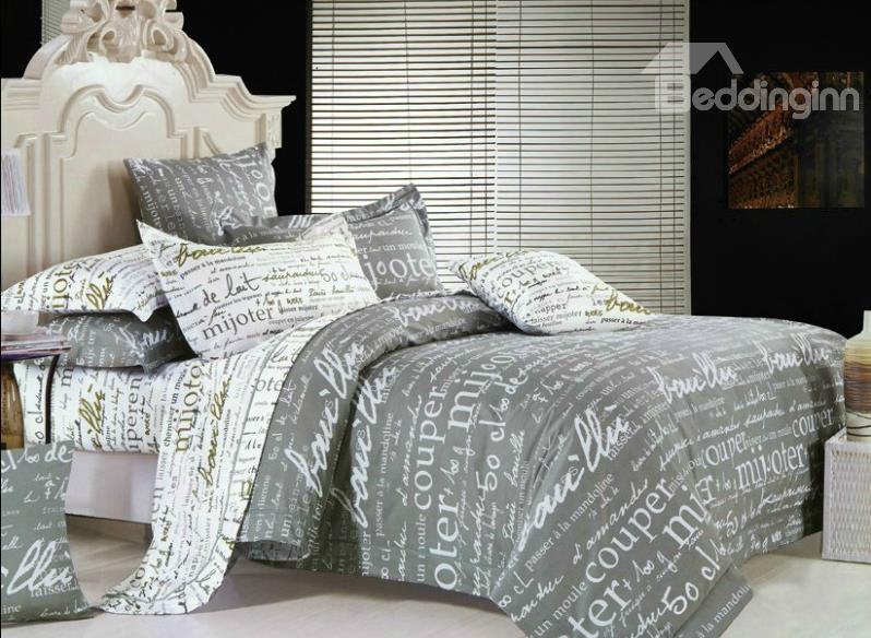 High Quality Pure Alphabet Fashion Style 4-Piece Cotton Duvet Cover Sets