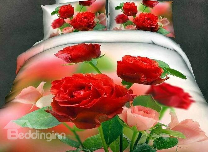New Arrival High Quality 100%Cotton Gorgeous Flowers 4 Piece Bedding Sets/Duvet Cover Sets