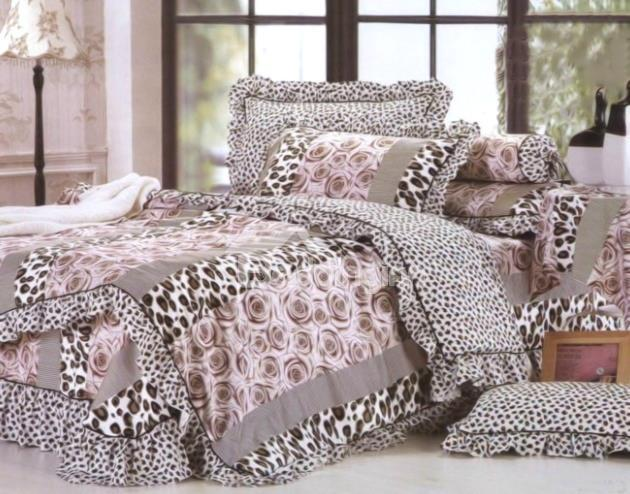 Rose And Leopard Print 4-Piece Cotton Duvet Cover Sets