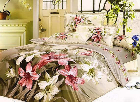 Dignified Orchid Flower Print 4-Piece Cotton Duvet Cover Sets
