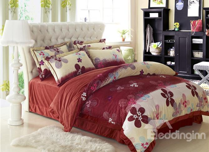 Elegant Flower Print Red Comfortable Sandedcloth Material 4 Piece Bedding Sets