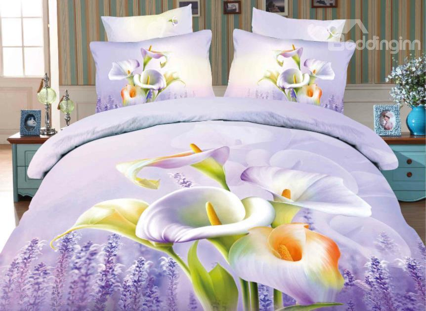 Calla Lily And Lavender Print 4-Piece Cotton Duvet Cover Sets