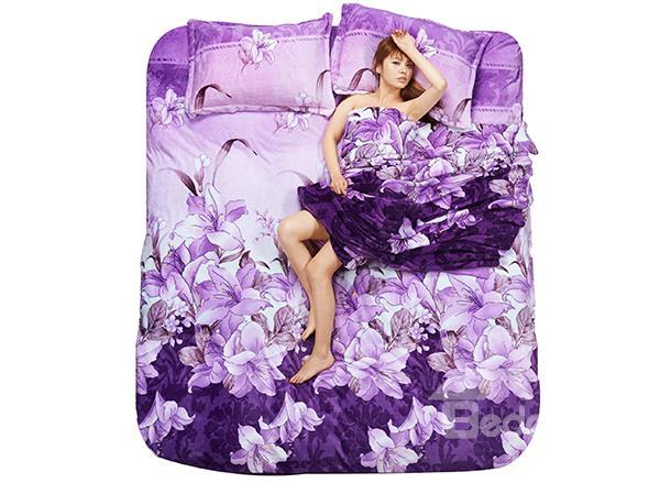 Purple Lily Flower Print 4-Piece Coral Fleece Duvet Cover Sets