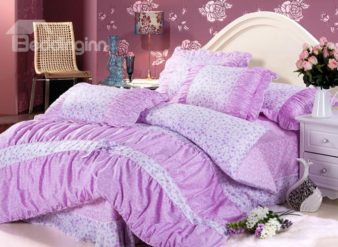Amazing Floral With Lace Aubergine 5 Piece Cotton Bedding Sets