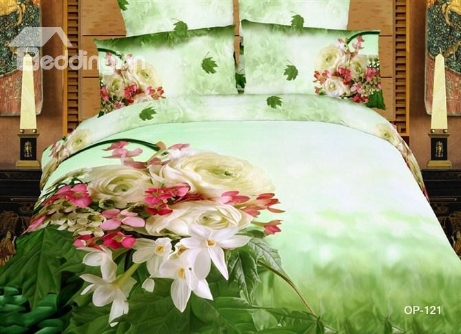 100%Cotton Fantastic Flower 3d Oil Printed Green 4 Piece Bedding Sets 10532458)