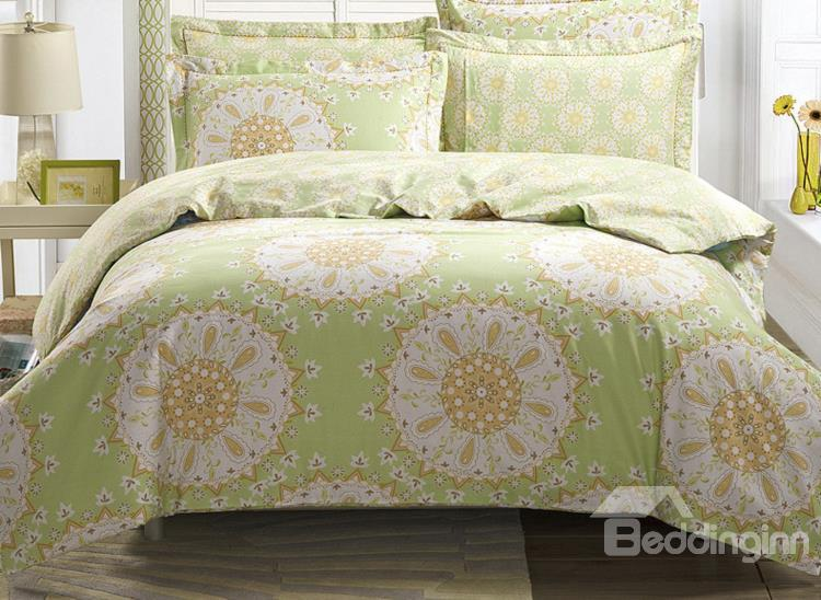 Undertint Round Flower With Green Ground 4-Piece Cotton Duvet Cover Sets