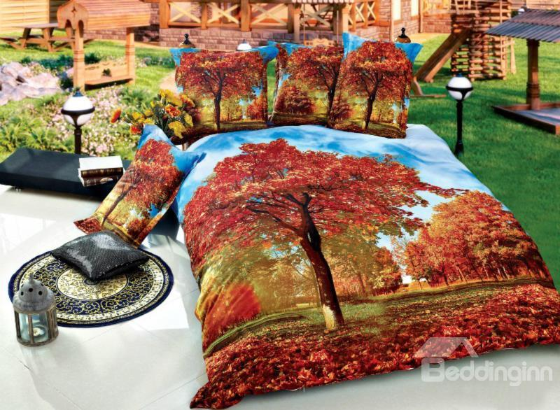 Flourishing Red Maple Tree Print 4-Piece Cotton Duvet Cover Sets