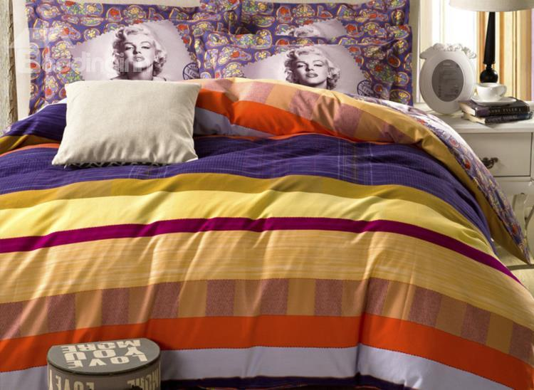 Downtown Melody Marilyn Monroe Print 4-Piece Cotton Duvet Cover Sets