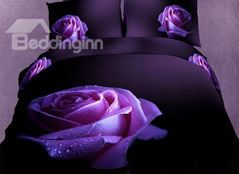 New Charming Big Dewy Purple Rose Print 3d Duvet Cover Sets