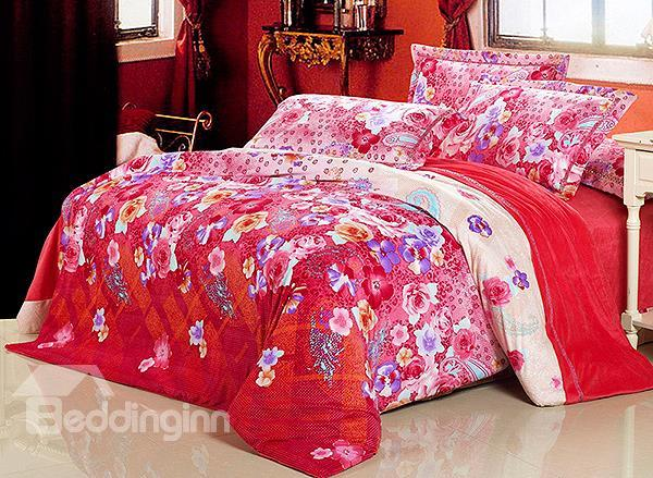 Gorgeous Paisley Flower Print 4-Piece Flannel Duvet Cover Sets