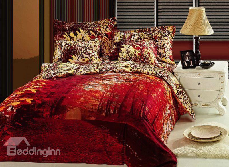 Splendid Red Maple S Woods Print 4 Piece Cotton Duvet