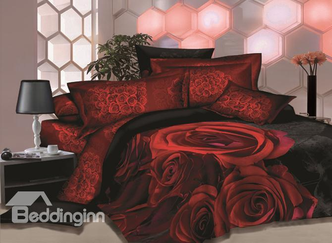 Unique Great Red Rose Printed 4 Piece House Bedding Sets 10489830)
