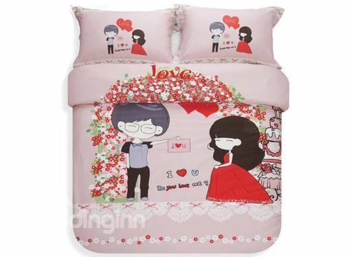 Hot Selling Korean Style Romantic Lovers 100%Cotton Duvet Cover Sets