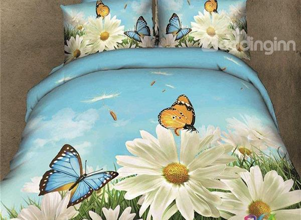 Beautiful Butterfly And Flower Print 4-Piece Cotton Duvet Cover Sets