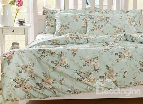 Pastoral Wild Flower Pattern 4-Piece Natural Cotton Duvet Cover Sets
