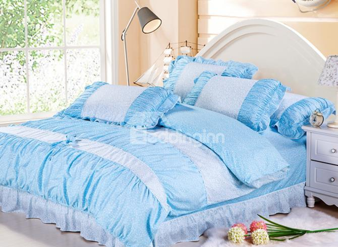 Exsquisite Sakura Print With Lace Blue 4 Piece Cotton Bedding Sets