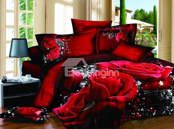 Luxury Big Red Rose Realistic 3d Printed 4 Pieces Bedding Sets 10523742)