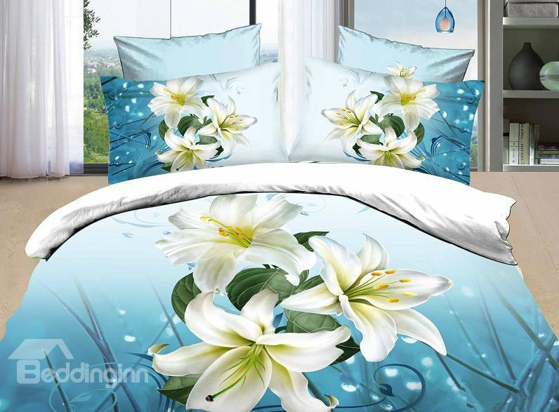 3d High Quality Fragrant Lily 4 Piece Bedding Sets