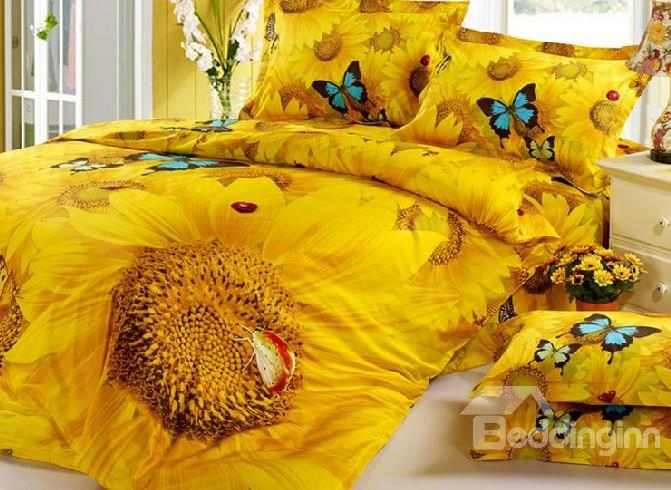 Brilliant Sunflower And Colorful Butterfly Print 4-Piece 3d Duvet Cover Sets
