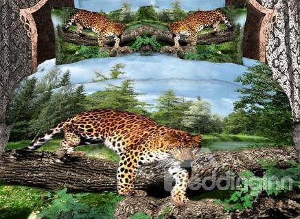 Cheetah And Green Tree Print 4 Piece Duvet Cover Sets/Bedding Sets