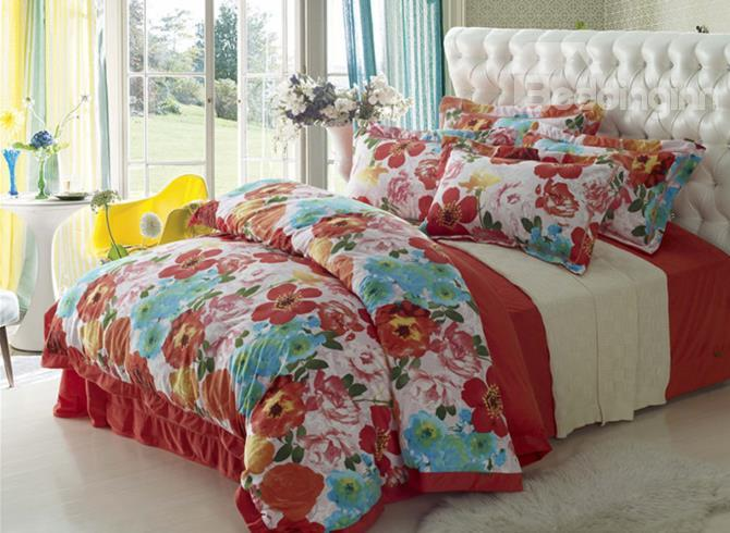 Vintage Colorful Flowers Print Comfortable Sandedcloth Material 4 Piece Bedding Sets