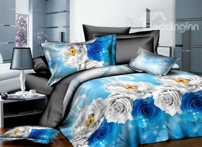 Blue And White Flowers Print 4-Piece 3d Polyester Duvet Cover Sets