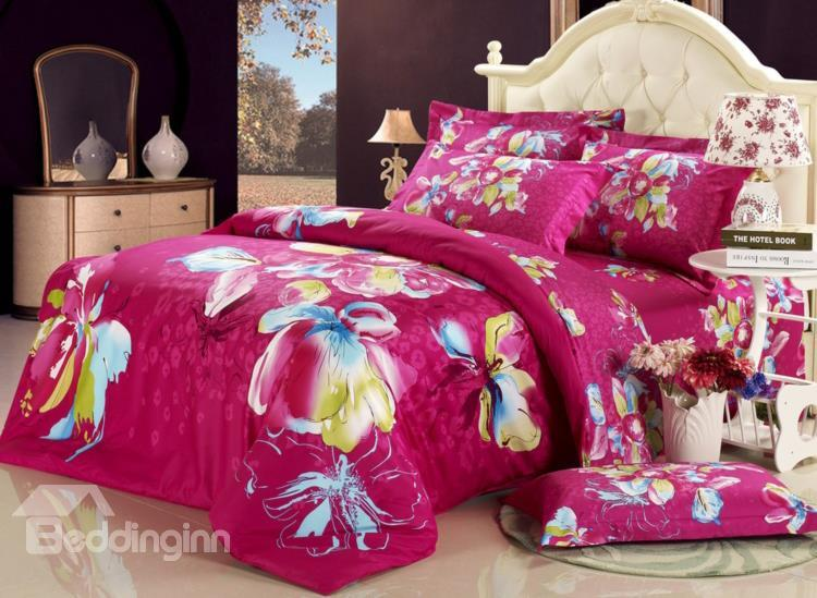 Gorgeous Rose With Flower Print 4 Piece Bedding Sets