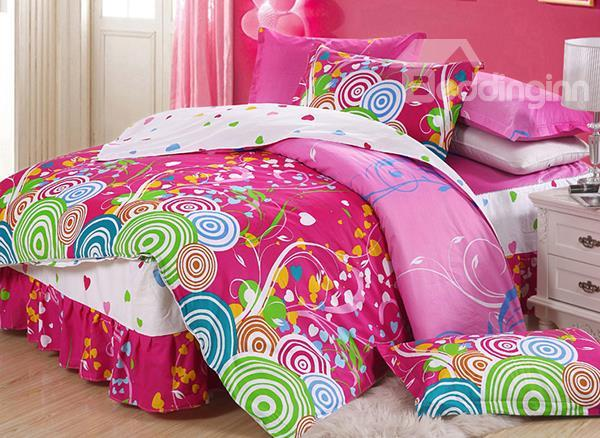 Cute Donut And Floral Pattern 4-Piece Cotton Duvet Cover Sets