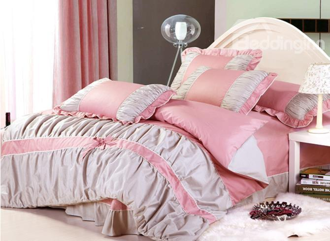 Dot Bowknot Lace Edge 4 Piece Pink And Grey Cotton Bedding Sets