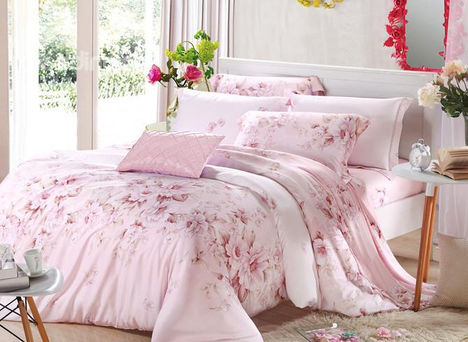 Comfortable Fresh Floral Patterns 4 Pieces Tencel Bedding Sets
