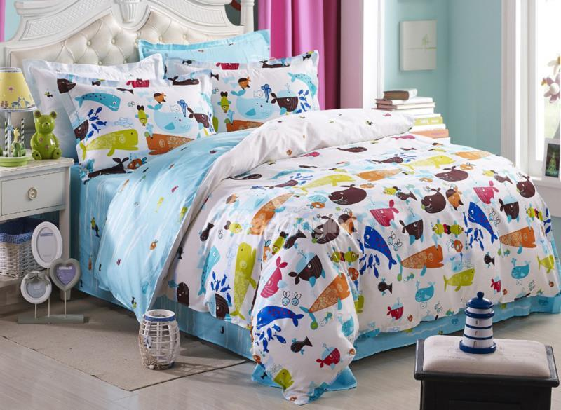 Colorful Whale Swimming In The Sea Print 4-Piece Cotton Duvet Cover Sets