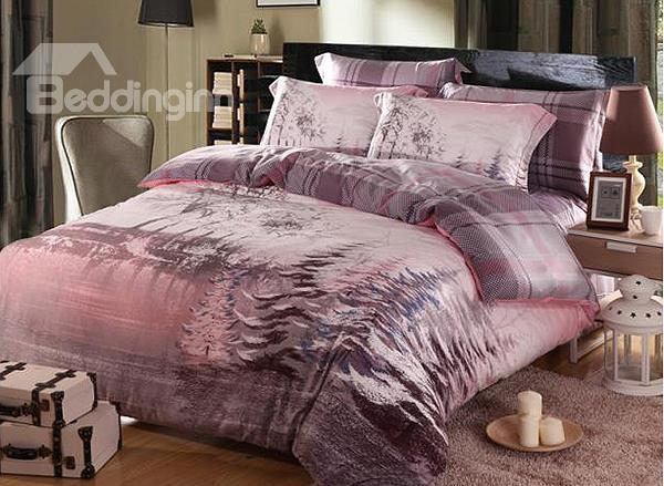 Tree With Snow Print 4-Piece Soft Cotton Duvet Cover Sets