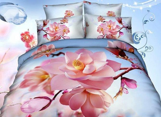 Charming Pink Flower Print 4-Piece 3d Duvet Cover Sets