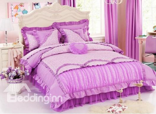 Romantic Purple Color Lovely Pricess Style Bedding Sets 4 Piece Duvet Cover Sets