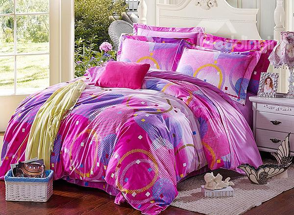 Lovely Heart-Shaped Pattern 4-Piece Flannel Duvet Cover Sets