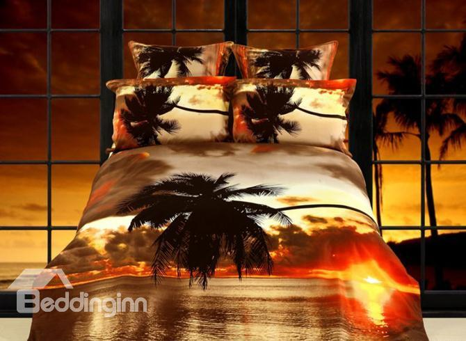 Palm Tree Scenery At Dusk Printing 4 Piece Cotton Bedding Sets 10489207)