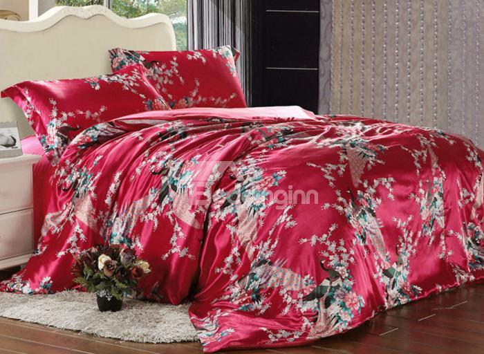 Beautiful Flower And Peacock Print 4-Piece Duvet Cover Sets