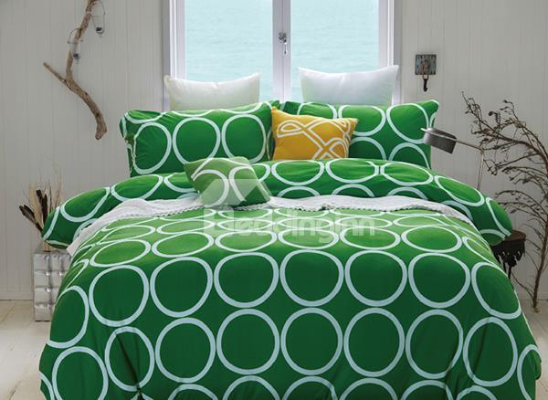 Fashion Oval Pattern 4-Piece Reversible Long-Stapled Cotton Duvet Cover Sets